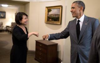 Miyoung Chun_Scientist _ Entrepreneur with President Obama