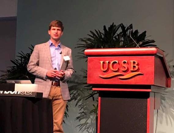 Dr. Justin Poelma, UCSB alumnus, speaks about the 3D printing technology developed at Carbon3D. Photo by Saemi Poelma.