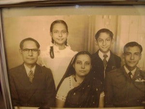 Front row, left to right, Professor Manmatha Nath Biswas, father, Latika Biswas, mother, and Captain Buddho Deb Biswas, brother. Back row: 14-year old Deepa Biswas, and brother, Dr. Bashker Kumar Biswas.