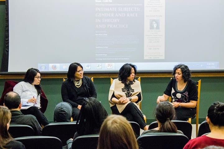 Sister's Talk. From left to right: Juno Parreñas, Rhacel Rhacel Parreñas and Celine Parreñas Shimizu with Bakirathi Mani at Swarthmore College.