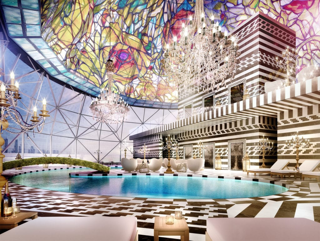 Skybar in Doha Hotel. Unmistakably a Wander's Design. Image Courtesy Marcel Wanders.