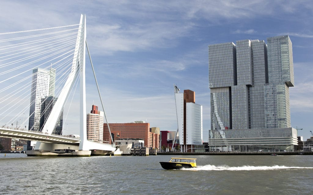 Rotterdam's famous Erasmusbrug and the skyline of Kop van Zuid.