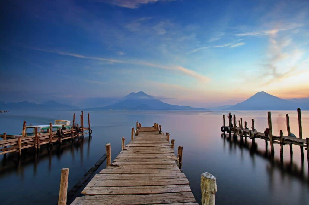 Sunset at the Panajachel Pier on Lake Atitlán, Guatemala where students learned about the coffee trade