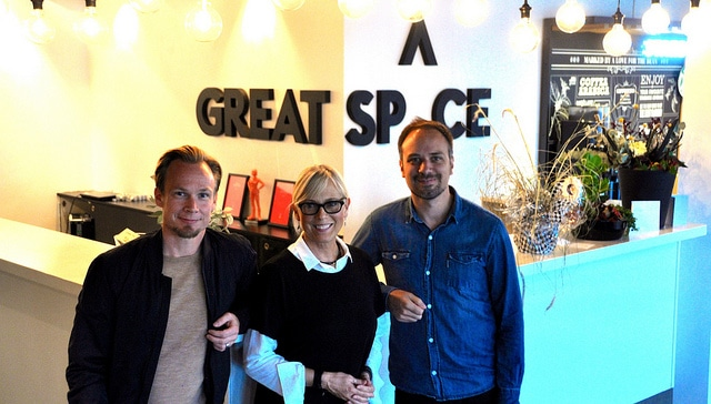 Great Sp^ce Founders, Mikael Bergström and Jesper Johansson, with Jody Turner in Sundsvall, Sweden.