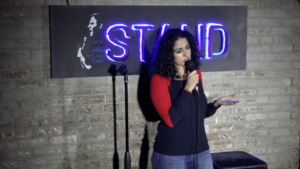 Suzie Afridi doing comedy at The Stand