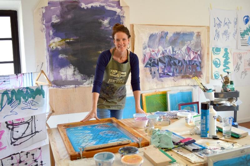 Kirsten Schambra Stevens in her studio, Italy.