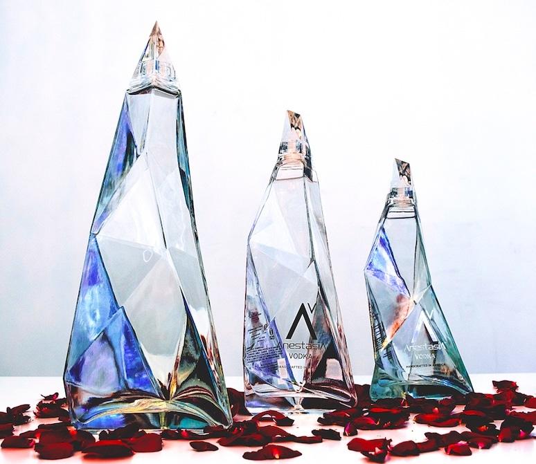 AnestasiA Vodka, bottles made of recycled glass , designed by Kareem Rashid and Yuliya Mamontova.