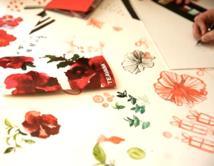 Collective artwork in the creation of the new Teavana packaging and product. (Courtesy Starbucks Coffee Company)