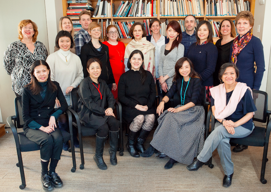 Miho Walsh (seated center) and ACC staff from New York, Hong Kong, Manila, Taipei, and Tokyo_Photo by Pingkan Lucas.