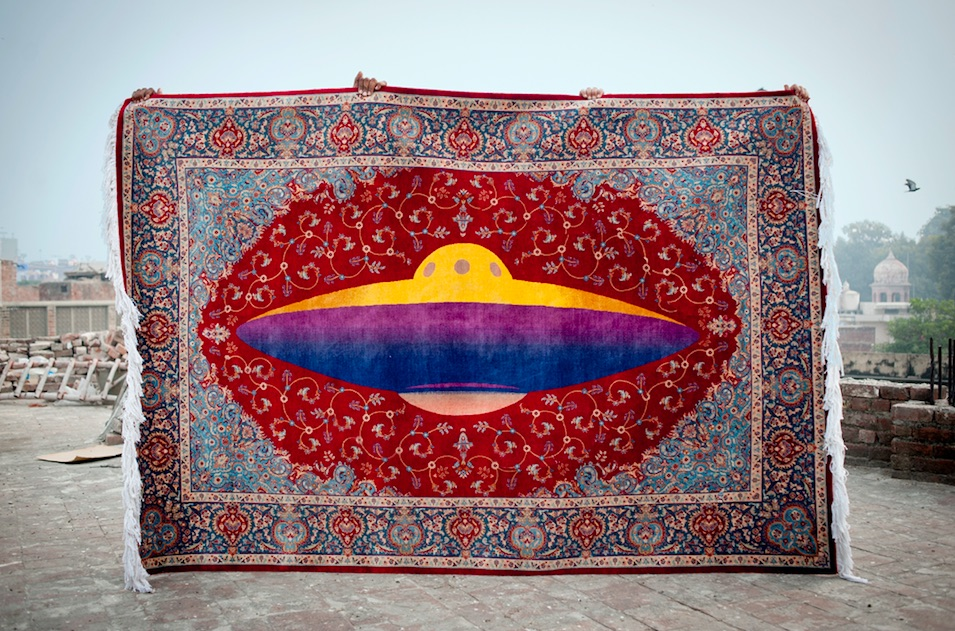 UFO rug — the ultimate outsider — by Saks Afridi. Image courtesy of the artist.