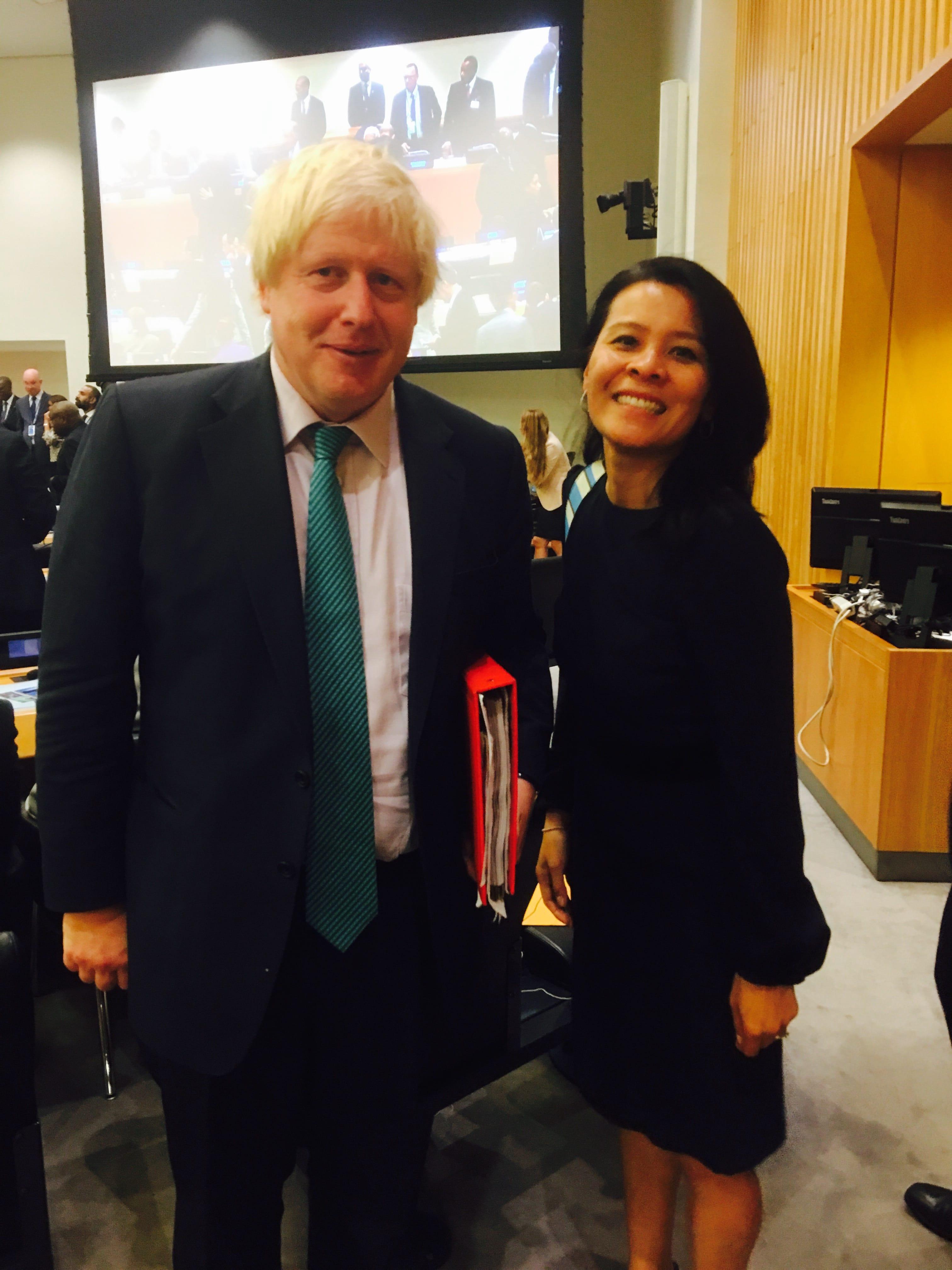 Boris Johnson, British Foreign Secretary, and Paksy Plackis-Cheng, founder impactmania at the United Nations, New York, NY 2017.