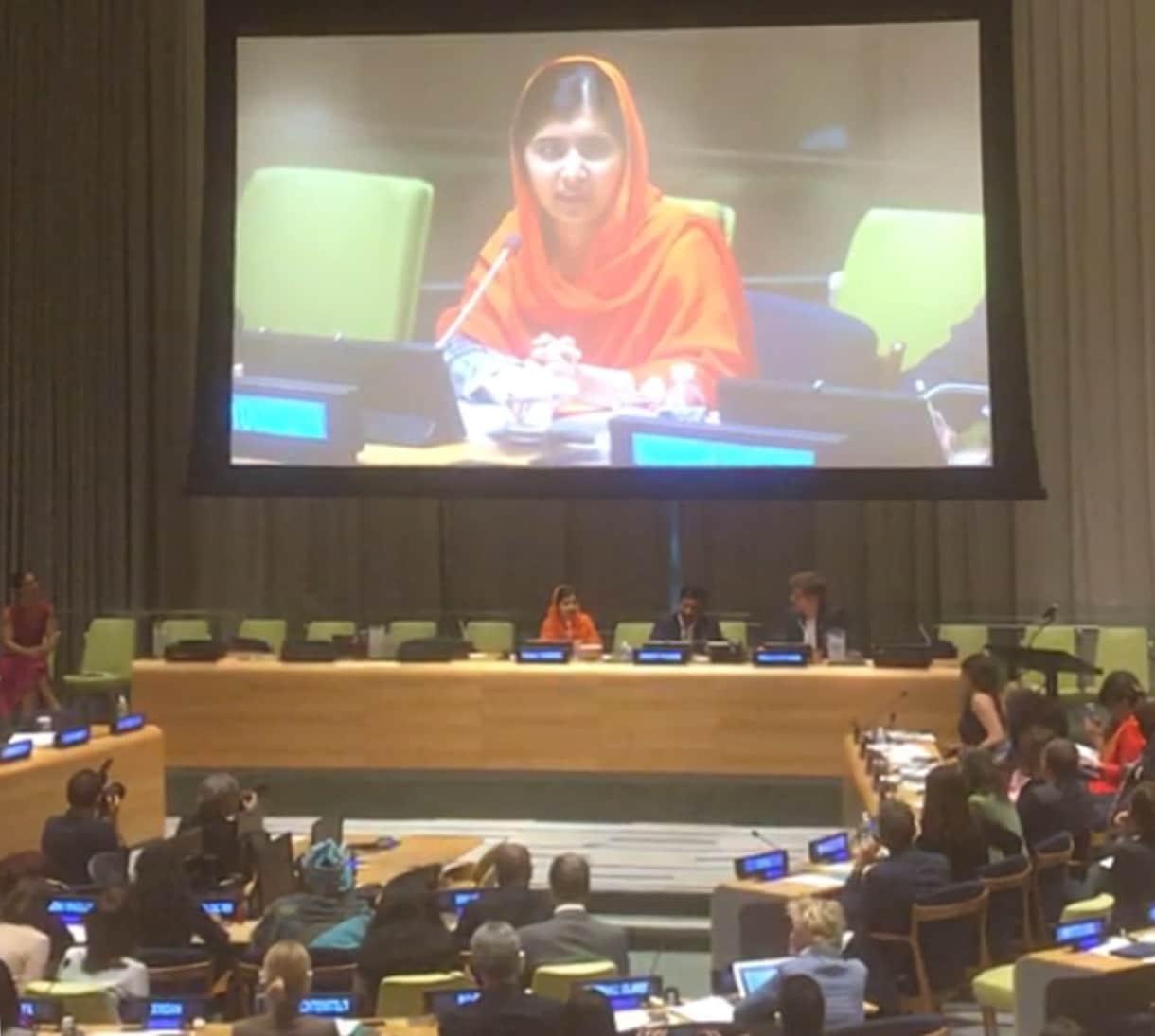 Malala speaks at the United Nations, 2017. Photo: impactmania