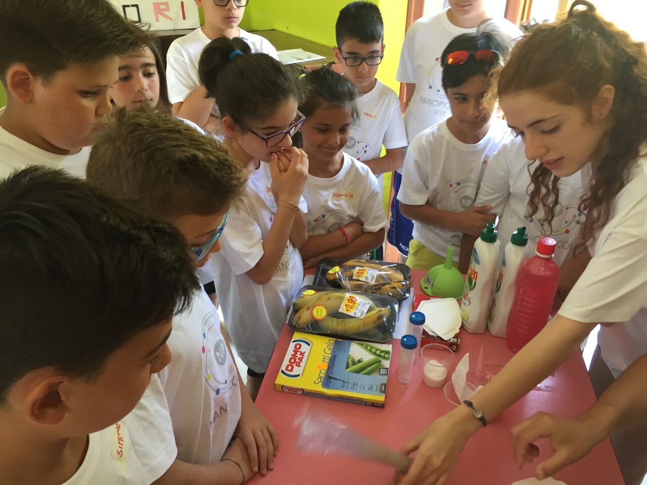 The town's NanoPiccola's participants learning about nanoscience with experiments and hands-on activities taught by trained students.