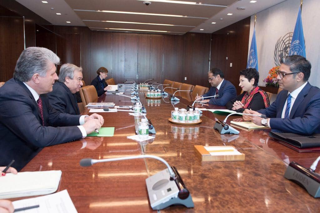Pakistan's Ambassador to the UN, Maleeha Lodhi, in a meeting with UN Secretary General, Antonio Guterres at the UN Headquarters in New York.