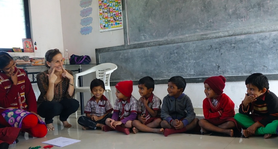 Dr. Laura Jana visiting preschoolers at the Global Discovery School in Nashik, India .