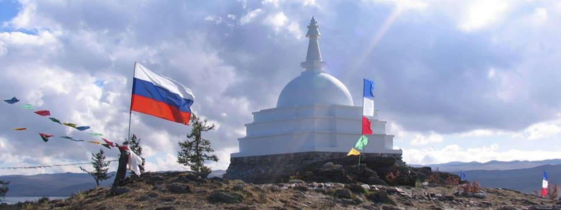 The stupa on the Ogoy island, Lake Baikal, in Siberia. Photo Courtesy: Izabell Blumin.