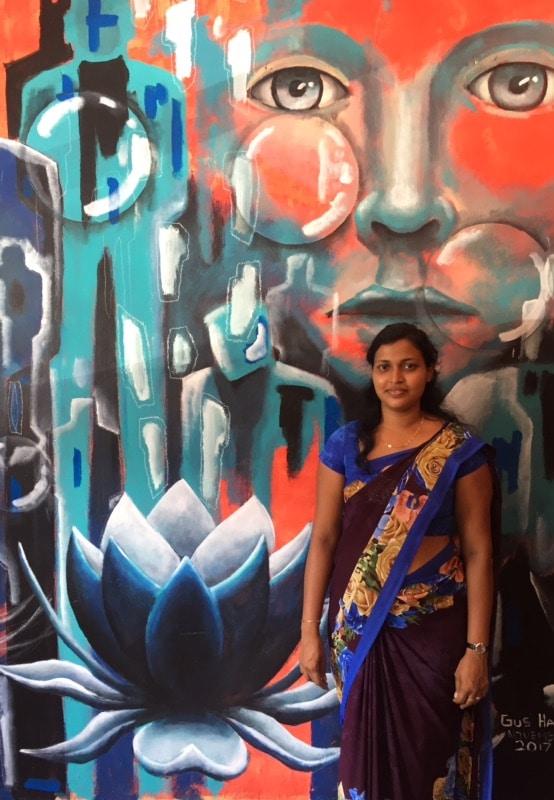 Gus Harper's mural at the train station in Hikkaduwa, Sri Lanka