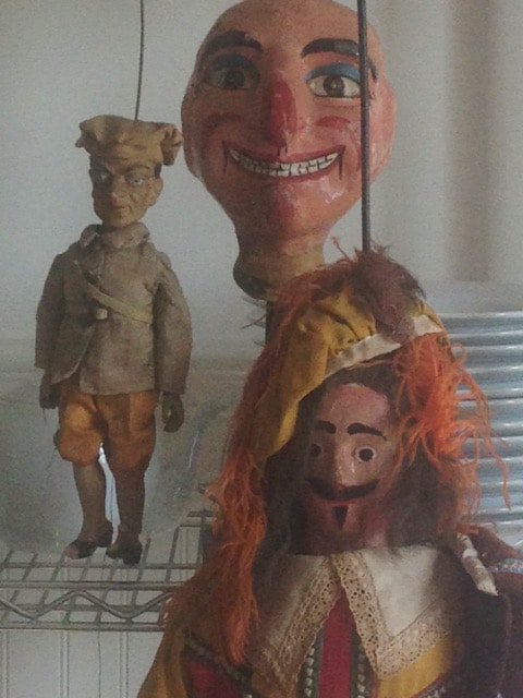 Penelope Gottlieb's mother Betsy Brown was one of the first professors to teach puppetry at university level in California and possibly in the U.S. The large puppet is an antique from Belgium circa 1810. It was restored and hung in the Grand Place (De Grote Markt) in Brussels, Belgium when Queen Elizabeth visited Brussels in 1966.