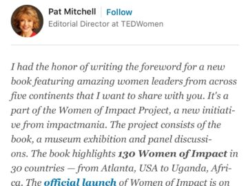 Pat Mitchell, Editorial Director TED X Women, supports WoI