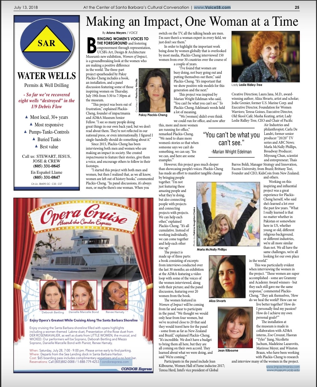 Women of Impact in The Voice Magazine. Article by Ariana Meyers.