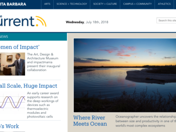 Women of Impact on the Homepage of UCSB's The Current News